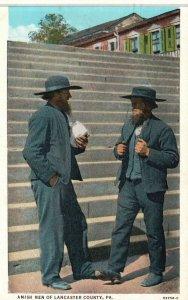 Amish Men of Lancaster County, PA, 1934 White Border Vintage Postcard g4741