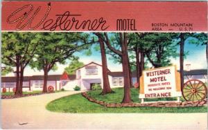 WINSLOW, AR Arkansas   WESTERNER MOTEL   c1950s Roadside Linen Postcard