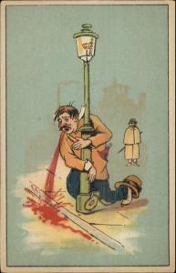 Scatalogical Humor Drunk Man Vomits Throwing Up c1920 Postcard #2