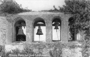 RPPC Mission Bells San Juan Capistrano Orange County, CA c1950s Vintage Postcard