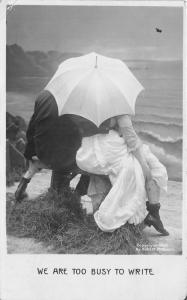 Too Busy to Write~Couple on Beach @ Umbrella~Matching Tights~'07 McCrurn RPPC