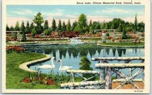 Clinton, Iowa Postcard Swan Lake, Clinton Memorial Park Curteich Linen c1940s