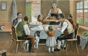 Germany German Family at Dinner Supper Meal Grub aus Thuringen Postcard