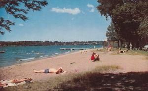 The Beach at Minets Point, Barrie, Ontario, Canada, PU-1958