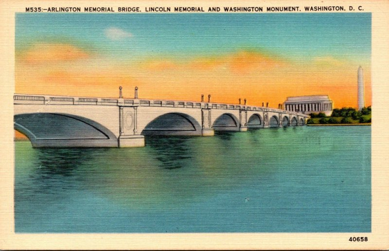 Washington D C Arlington Memorial Bridge Lincoln Memorial and Washington Monu...