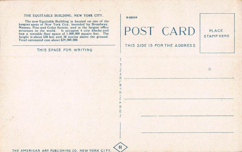 The Equitable Building, Manhattan, New York City, Early Postcard, Unused