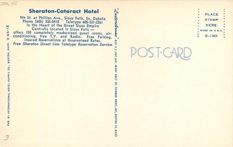 Sioux Falls South Dakota~Sheraton Cataract Hotel~Seafood Buffet Every Night~1960