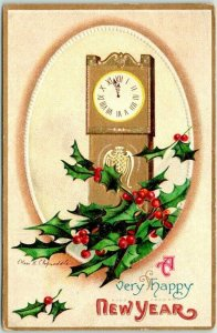 Vintage 1914 Artist-Signed CLAPSADDLE Embossed Postcard A Very Happy NEW YEAR