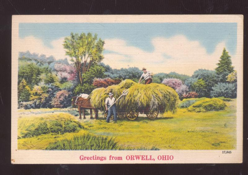 GREETINGS FROM ORWELL OHIO HAY FARMING WAGON VINTAGE POSTCARD