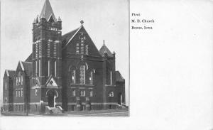 Boone Iowa~First United Methodist Episcopal~Sepia & White Postcard c1910