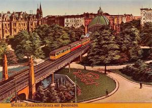 Alt Berlin Nollendorfplatz mi Hochbahn Train Bridge Reprint