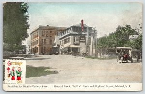 Ashland NH~Shepard Block~Old PO Block & Highland Street~Real Estate~Car~c1908