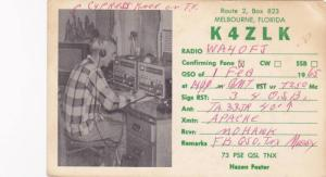 Radio QSL postcard , MELBOURNE , Florida , PU-1965