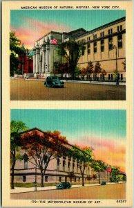 New York City Postcard Natural History / Metropolitan Met Museum Views Linen