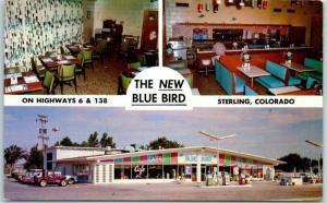 Sterling, Colorado Postcard THE NEW BLUE BIRD Café & Texaco Gas Station c1960s