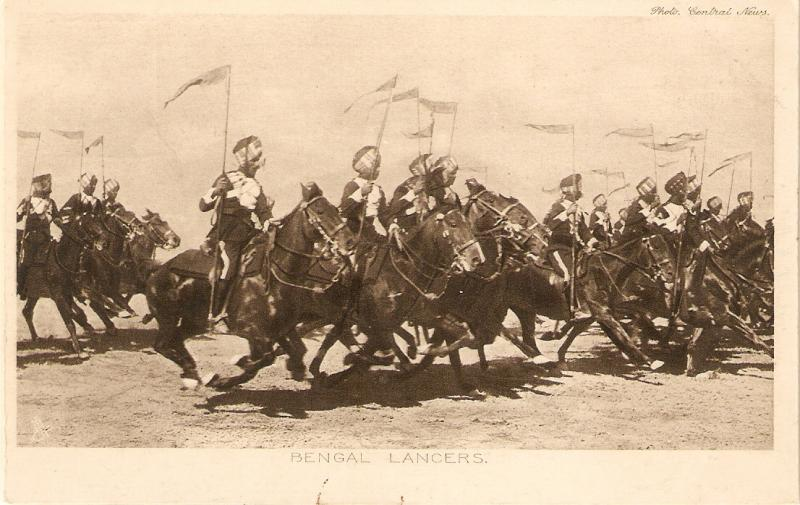 Military on horse. Bengal lancers Tuck Our Indian Troops Series PC # 4319