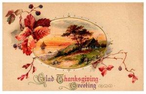 Thanksgiving  Water scene , Boat , John Winsch