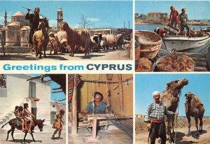 Lot 8 cyprus greetings fishing riding donkey sheep camel loom folklore types