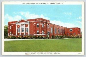 Niles Illinois~St Hedwig's Orphanage~Gymnasium~Flowers Along Side~1940s