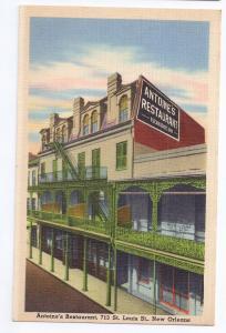 New Orleans Antoines Restaurant Vintage Linen Postcard