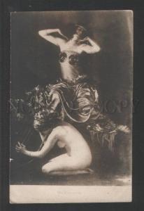 120449 Harem BELLY DANCER Slave w/ HARP vintage Photo PC