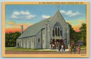 Postcard DE Rehoboth Beach Saint Edmund's Catholic Church Vintage Linen Delaware