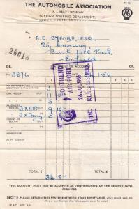 Southend Airport AA 1956 Plane Travel Ticket Reciept