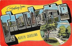 NC, Charlotte, North Carolina, Large Letter, E.C. Kropp No. 13073-9
