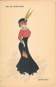 Early parisian fashion pictorial card artist signed mode sur les boulevards