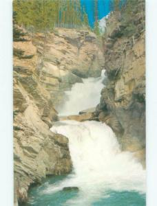 Unused Pre-1980 WATERFALL SCENE Jasper National Park Alberta AB E4233