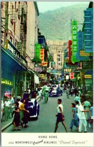 Vintage NORTHWEST ORIENT AIRLINES Advertising Postcard HONG KONG Street Scene