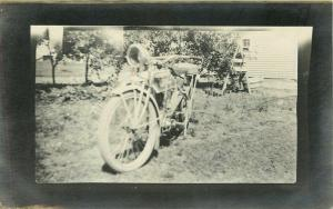 Closeup~Excelsior? Motorcycle~Front View~Headlight~Grape Vine Trellis~RPPC c1910