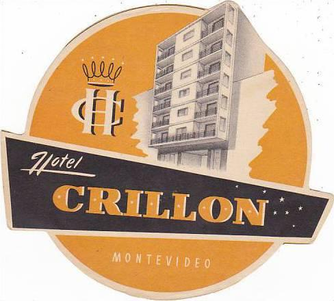 URUGUAY MONTEVIDEO HOTEL CRILLON VINTAGE LUGGAGE LABEL