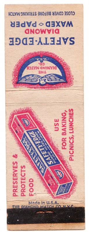 Safety Edge Diamond Waxed Paper matchbook cover