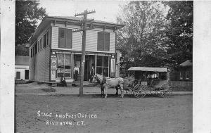 Riverton CT Stage Coach & Post Office Kibbe Chocolates Sign RPPC Postcard