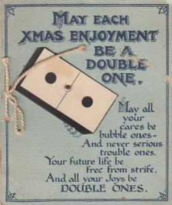 Dominoes Domino Double Ones Antique Christmas Card