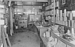 MERCHANT IN HARDWARE GARDEN STORE~CANARY GUANO CANS -UK? PHOTO POSTCARD