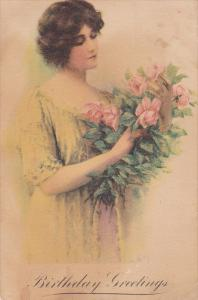 Birthday Greeting, Woman holding bouquet of pink roses, 00-10s