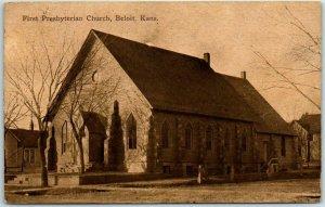 Beloit, Kansas Postcard First Presbyterian Church Building View / 1913 Cancel