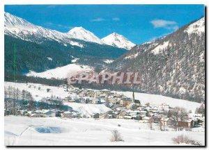 Postcard Modern Santa Maria Val Müstair Valchava to Pass dal Fuom e Piz Aint