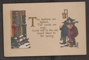 Christmas Greetings With Carollers - Unused c1920