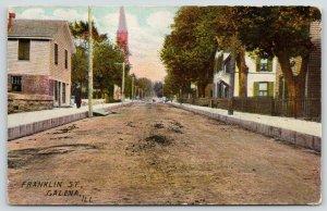 Galena Illinois~Franklin Street Homes~Old Man Walking w/ Cane~Cobblestones~1909