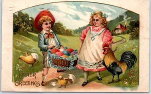 Vintage EASTER Embossed Postcard Boy Girl Basket Colored Eggs Chicks 1908 Cancel