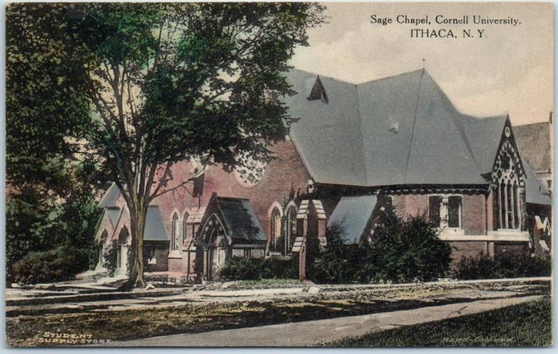 Ithaca, NY Postcard Sage Chapel, CORNELL UNIVERSITY Hand-Colored Albertype