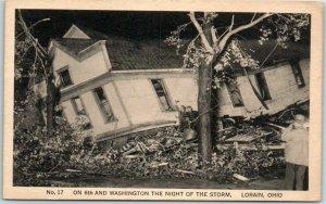 Lorain, Ohio 1924 TORNADO Postcard On 6th & Washington the Night of the Storm