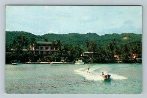 Ocho Rios- Jamaica, Silver Seas Hotel, Water Skiing, Chrome c1960Postcard