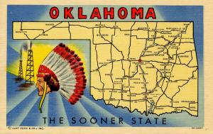 OK - Oklahoma! The Sooner State (Map)