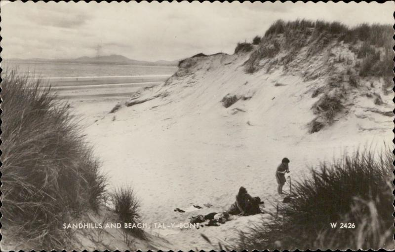 Sandhills and beach Tal-Y-Bont UK real photo