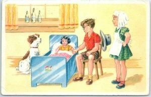 1950s Netherlands Holland Postcard Boy & Girl Nurse Taking Care of Sick Doll