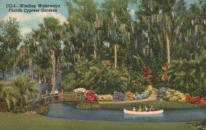 Cypress Gardens, FL, Winding Waterways, 1948 Linen Vintage Postcard g9399